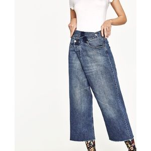 Zara Reconstructed Denim Crossover Culotte Pant
